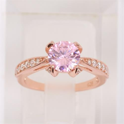 Rose Gold Plated 925 Sterling Silver Engagement Ring