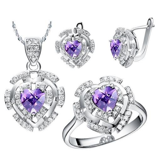 China silver jewelry sets with garnet for wholesale from China factory