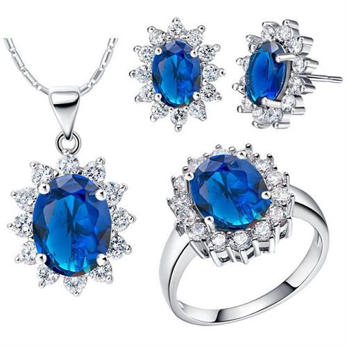 silver jewelry sets paved sapphire for wholesale from China factory