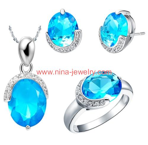 3 in 1 silver jewelry sets from Nina Jewelry Guangzhou China