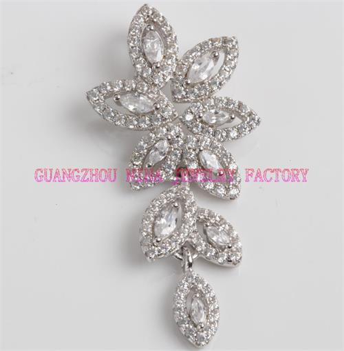 flower shaped long silver earrings for winter season