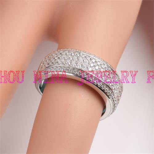 Round shape silver ring with cz for wholesale from China factory